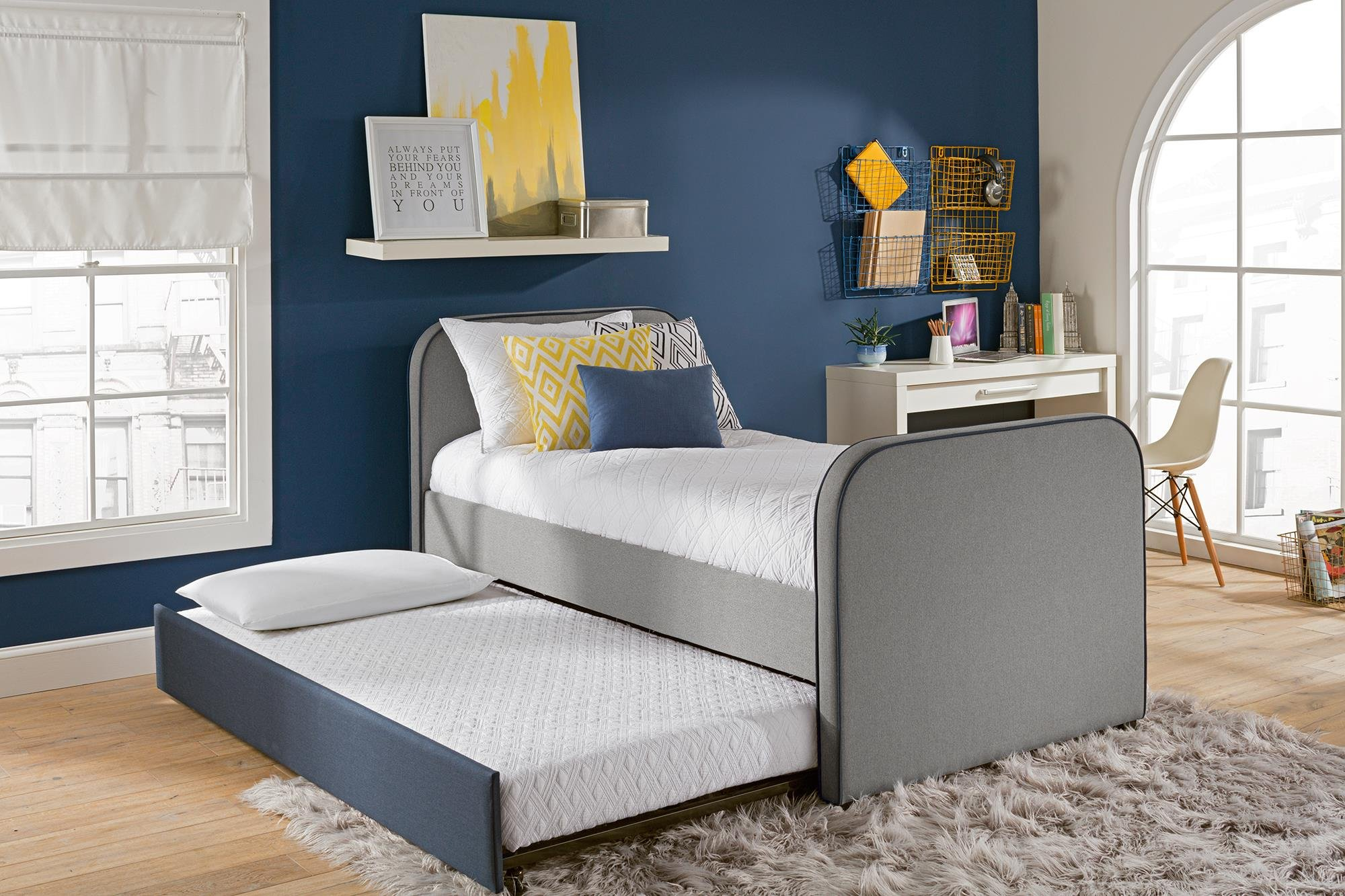 DHP Jesse Twin Kids Bed with Trundle in Gray Linen by DHP (Image #3)
