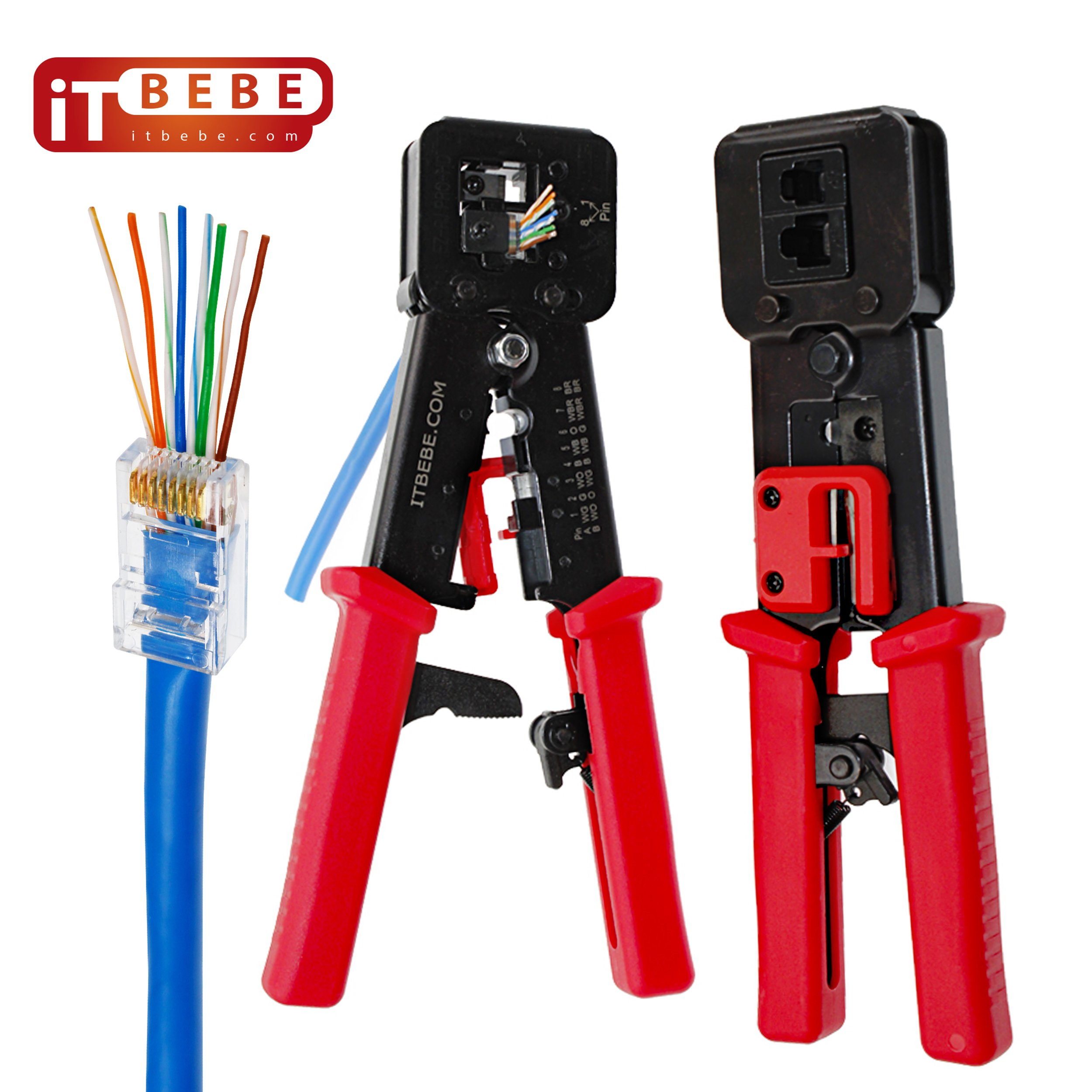 ITBEBE RJ45 Crimping Tool Made of Hardened Steel with Wire Cutter Stripping Blades and Red Textured Grips