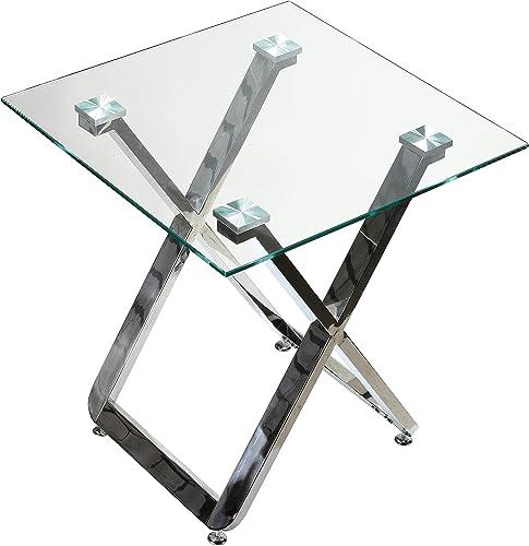 Cortesi Home Axe End Table, 20 , Chrome