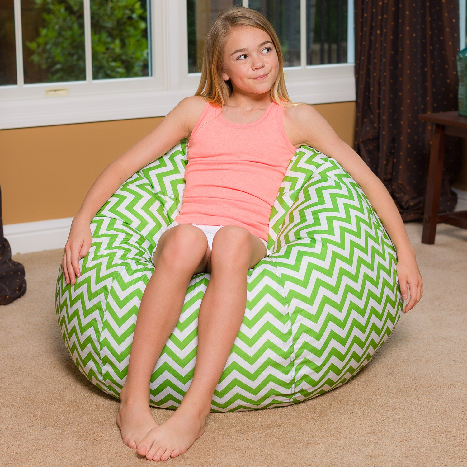 Big Comfy Bean Bag Chair: Posh Large Beanbag Chairs for Kids, Teens and Adults - Polyester Cloth Puff Sack Lounger Furniture for All Ages - 27 Inch - Chevron Green and White by Posh Beanbags (Image #5)