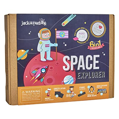 Space Themed Science Art Craft Toy for Boys and Girls | 6 Activities-in-1 Kit | Best Gift for kids Aged 6,7,8,9,10 years old | Includes beautiful DIY Solar System mobile kit, Rocket, and Boardgame: Toys & Games