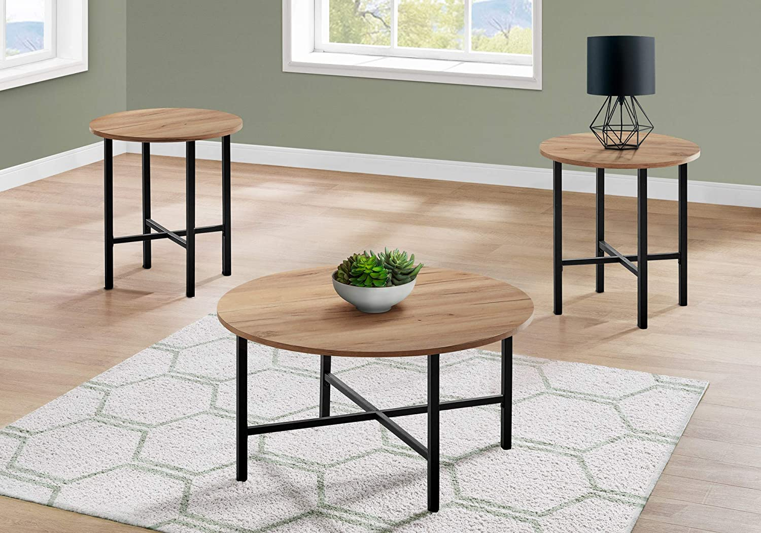 Monarch Specialties Coffee Set of 3 for Living Room Round Metal Legs Includes Cocktail 2 End Ocassional Table Set, 35.5