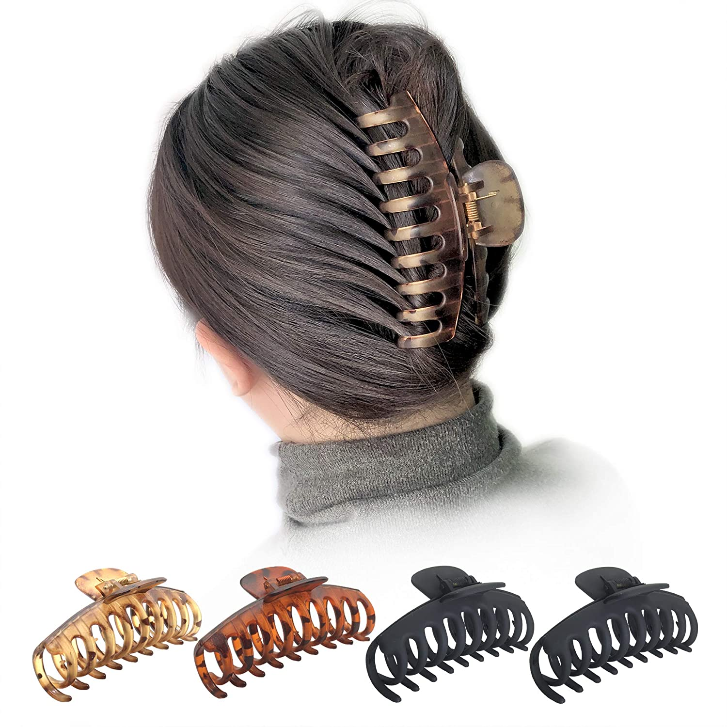 """OWIIZI Large Hair Claw Clips for Women 4.3"""" Matte Leopard Jumbo Hair Clips Non-Slip Ponytail Barrette Strong Hold Claw Clips for Girls Long Thick Hair (4Packs) : Beauty"""