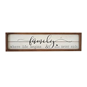 Parisloft Family Where Life Begins & Love Never Ends White Background Wood Framed Wood Wall Decor Sign Plaque 23.6 x 1.2 x 6 inches (Family Where Life Begins)