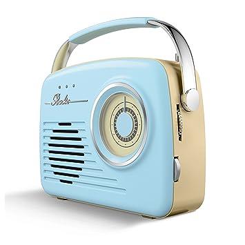 Akai A60014BL AM/FM Vintage Retro Radio, Portable Design with SD and ...