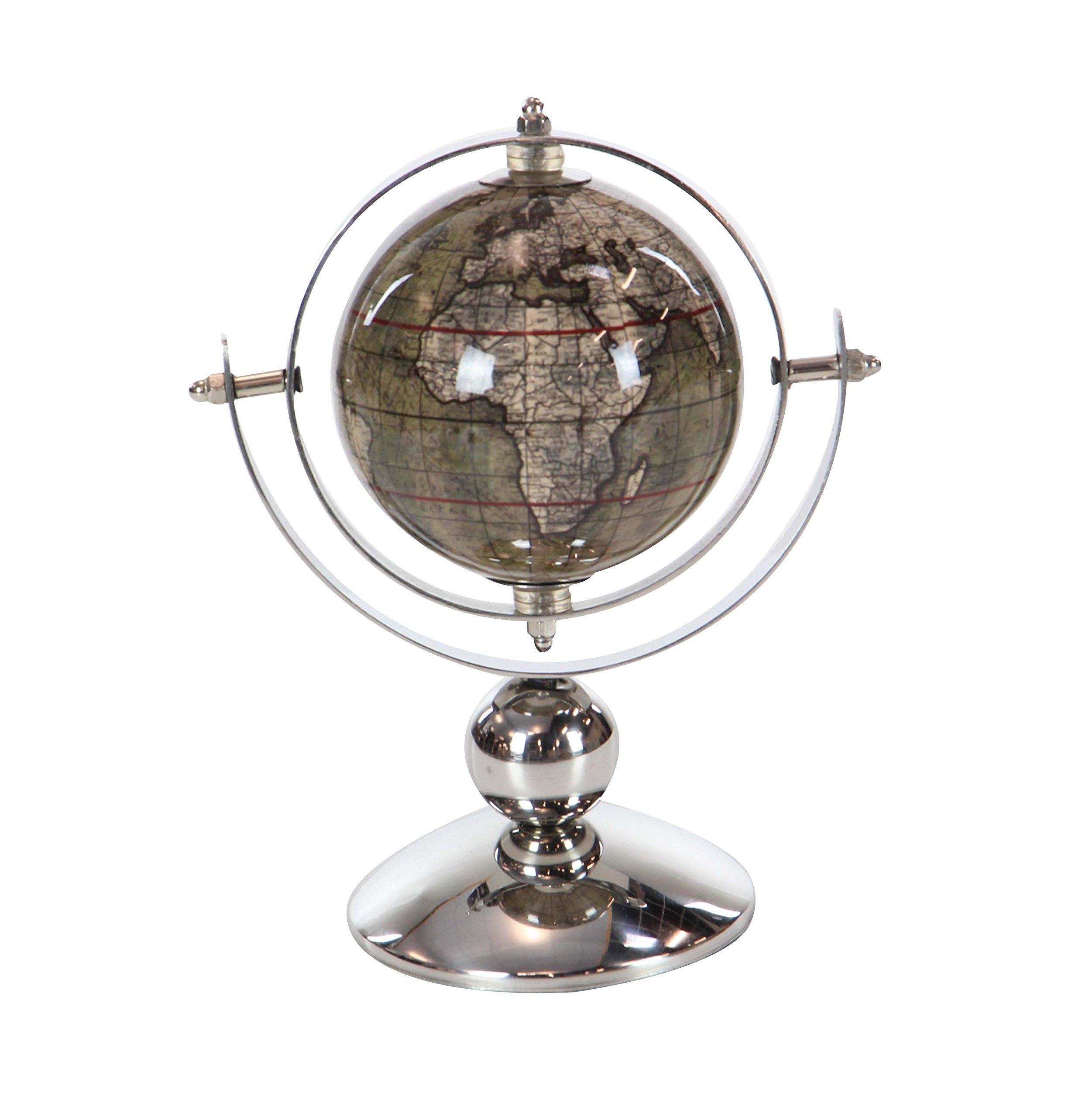 Deco 79 43488 Polished Silver Decorative Globe, 9'' x 6'', Brown/White