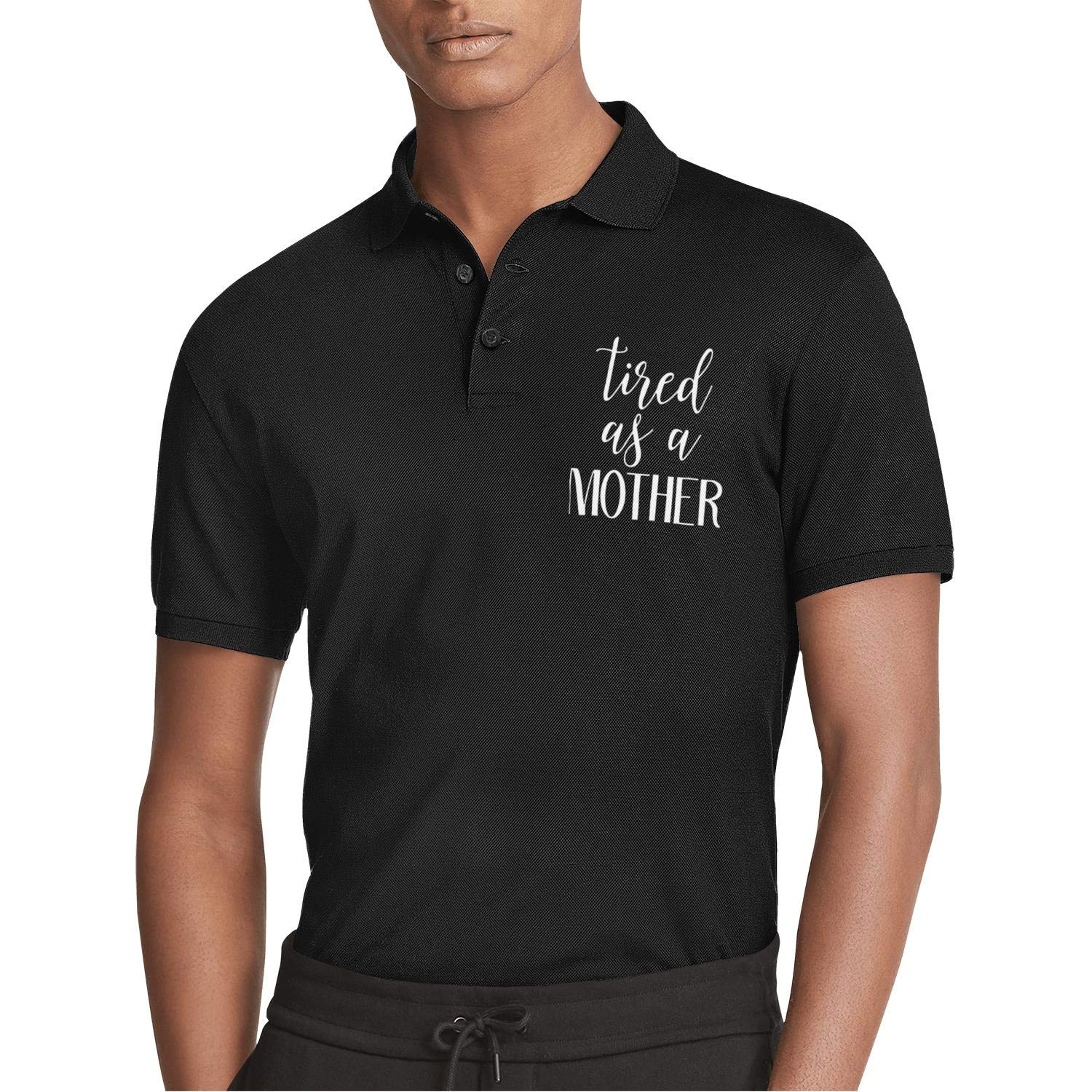 WYFEN Mens Printed Polo Shirt Mothers Day Tired as a Mother Style Short Sleeve Tee