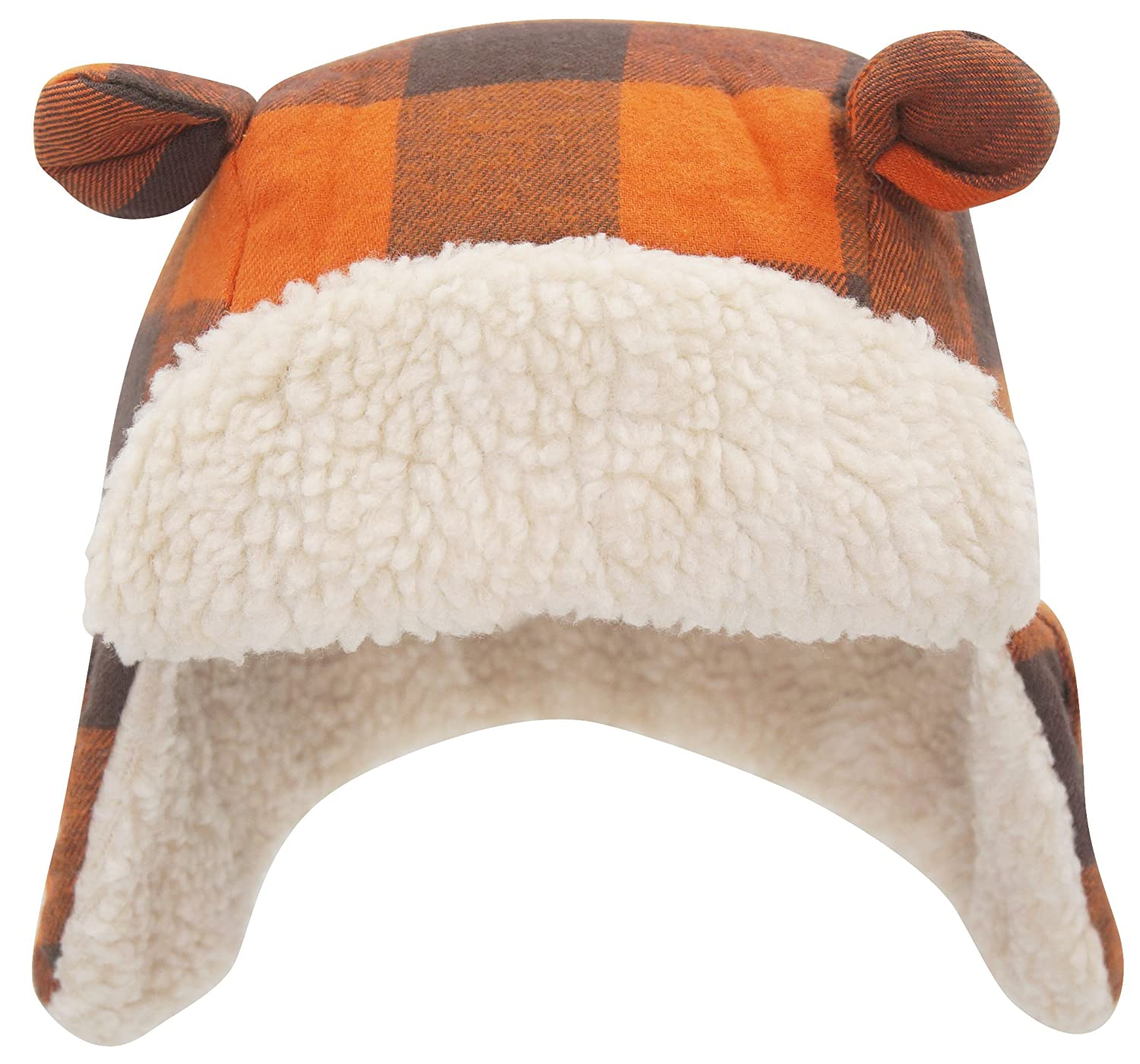 Baby Toddler Kids Orange Plaid Trapper Hat Aviator Winter Warm Earflap Cap Sherpa Hat TotMore