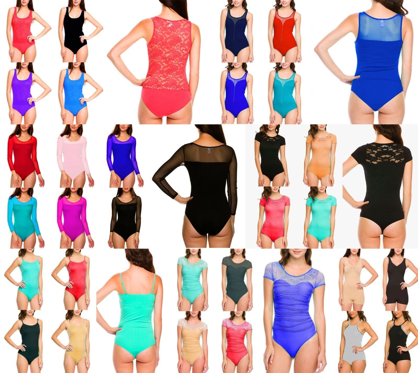 OLM Lot 5 Full Floral Lace Tank Bodysuit Sexy Mesh Sheer Back Snap Buttons Top S M L(S Lot Of 5 Assorted Colors/Styles)