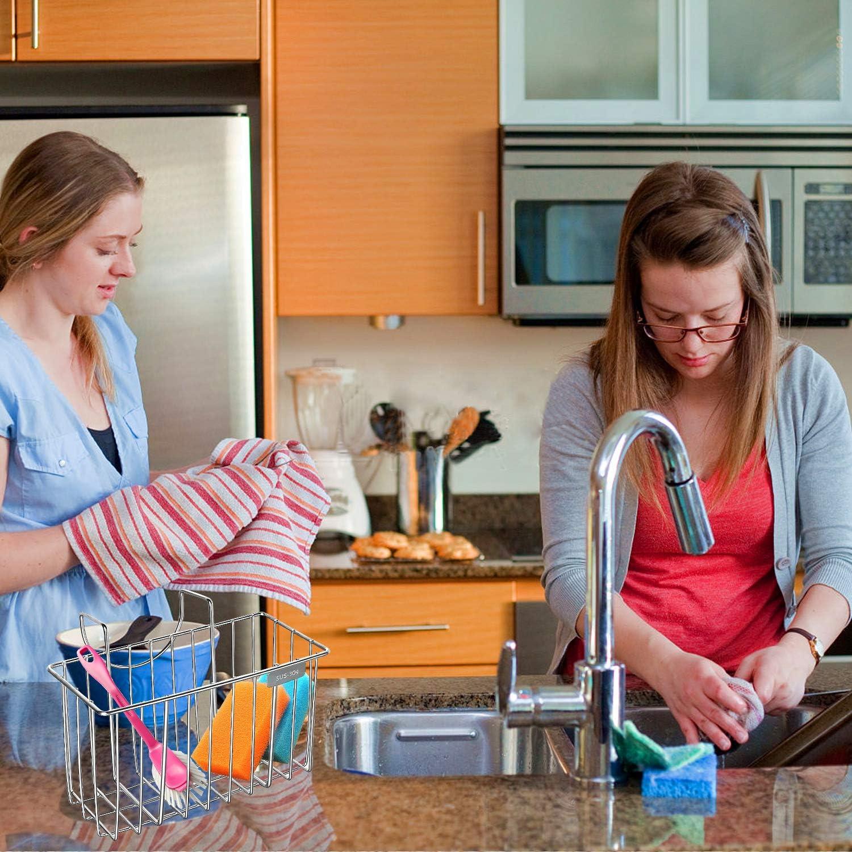 Sanlinkee Kitchen Sponge Holder,Sink Caddy Organizer Stainless Steel Holders Stainless Steel Kitchen Sink Organizer Sponge Holder Rack for Kitchen