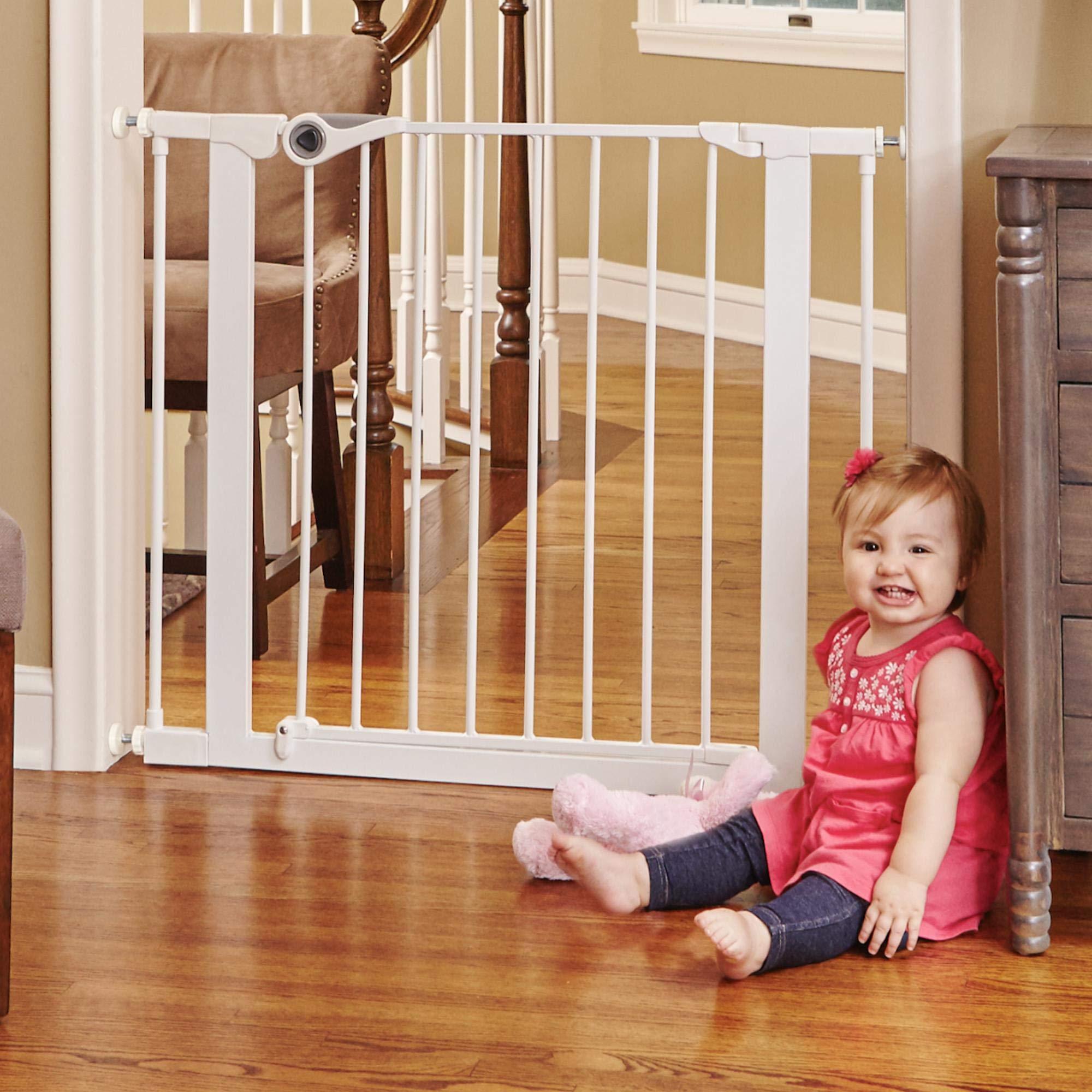 North States 38.1'' Essential Walk-Thru Gate: Ideal for securing hallways or doorways. Extra-Wide Doorway. Pressure Mount. Fits 29.8'' - 38.1'' Wide (30'' Tall, White)