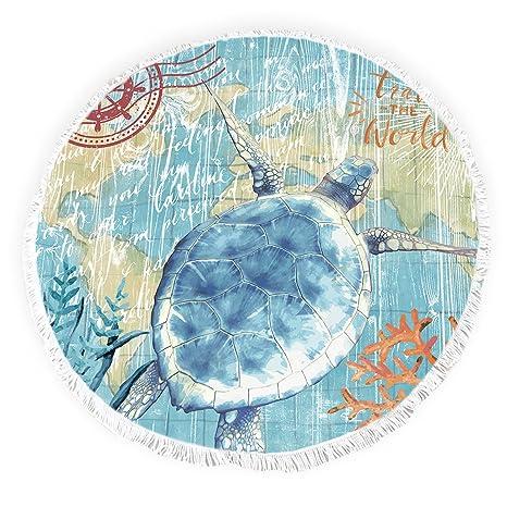 Yun Nist Toallas de playa redondas con borlas de tortuga marina océano acuarela flecos círculo grueso