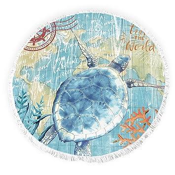 Yun Nist Toallas de playa redondas con borlas de tortuga marina océano acuarela flecos círculo grueso gitano alfombra de picnic de yoga: Amazon.es: Hogar