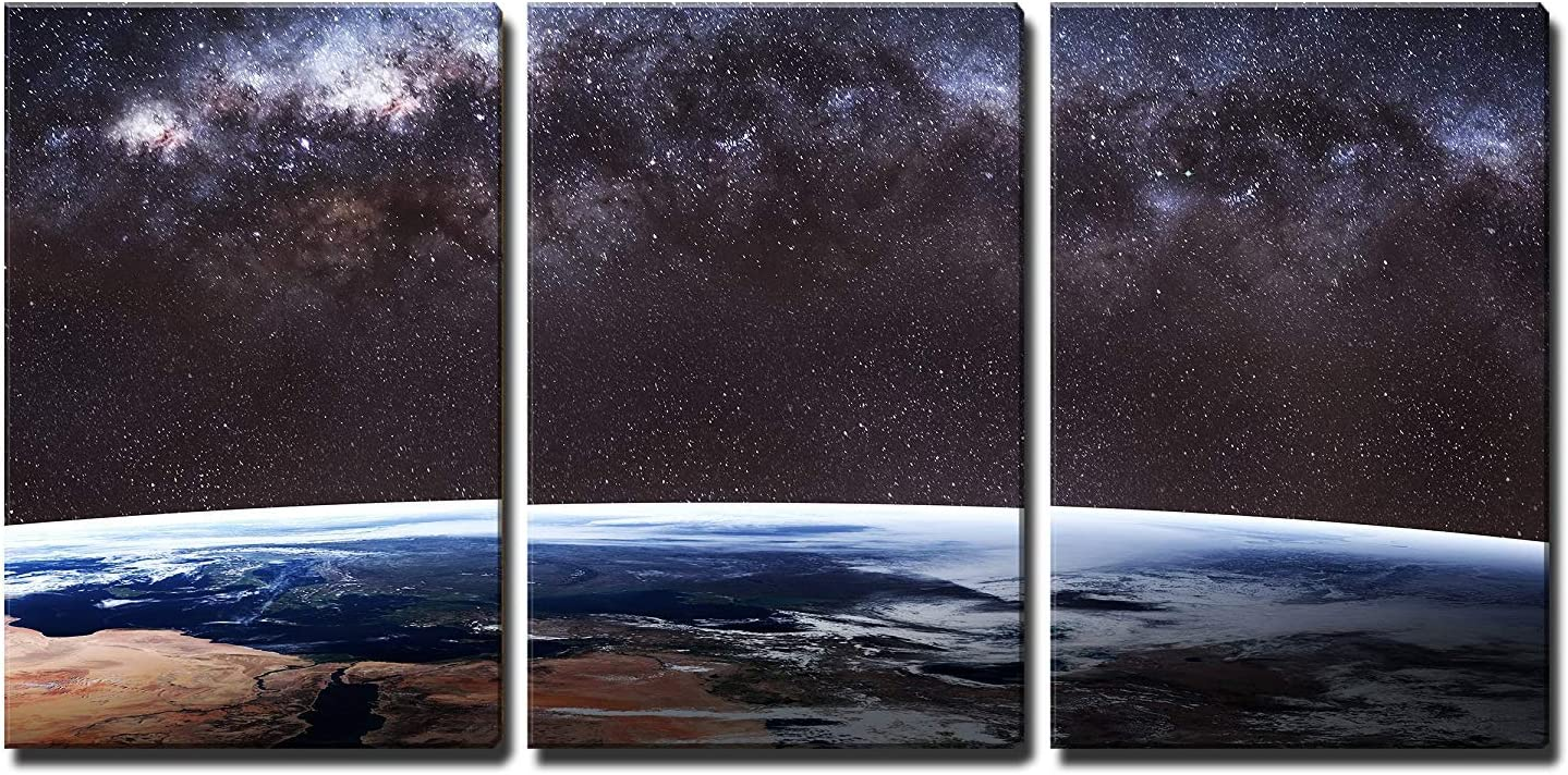 """wall26 - 3 Piece Canvas Wall Art Earth Image. - Modern Home Art Stretched and Framed Ready to Hang - 16""""x24""""x3 Panels"""