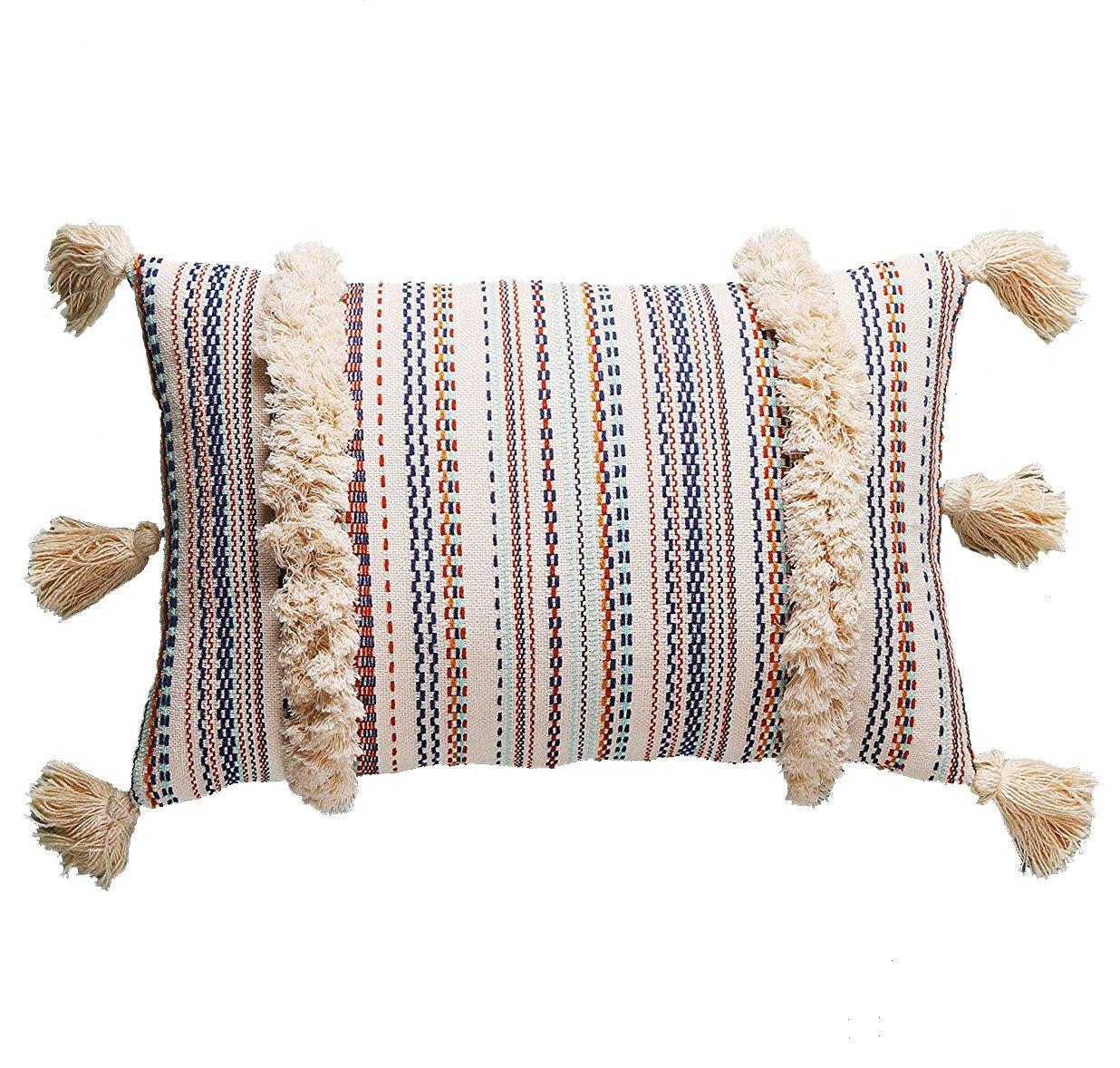 Flber Lumbar Throw Pillow Decorative Pillows Tassel Textured Woven Sham,12''X20'' by Flber