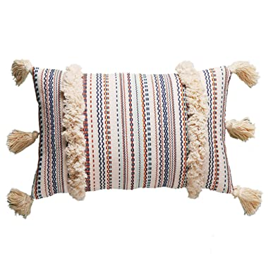 FLBER Decorative Lumbar Pillow Tassel Textured Woven Sham,12 X20