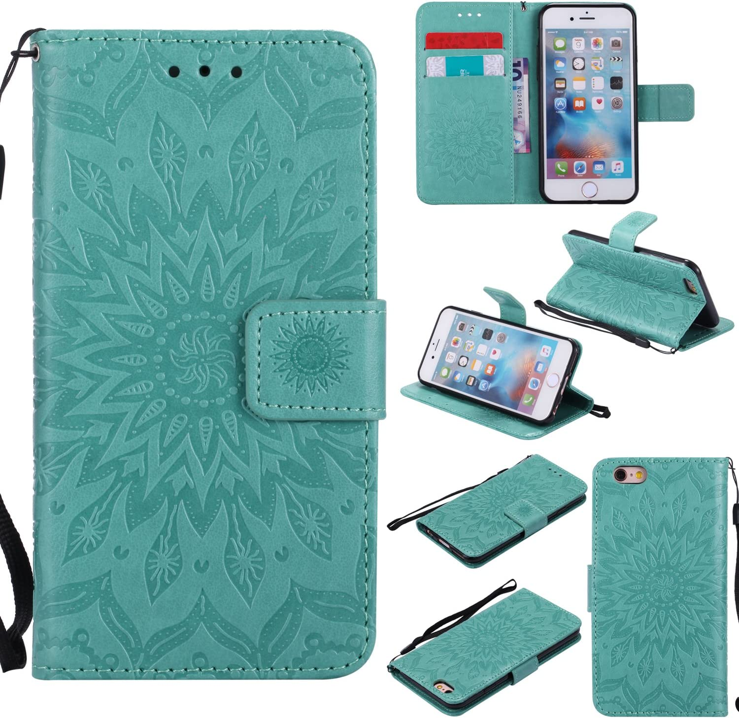 A-slim iPhone 6 / 6S Wallet Case, (TM) Sun Pattern Embossed PU Leather Magnetic Flip Cover Card Holders & Hand Strap Wallet Purse Case for iPhone 6 / 6S [4.7 Inch] - Green