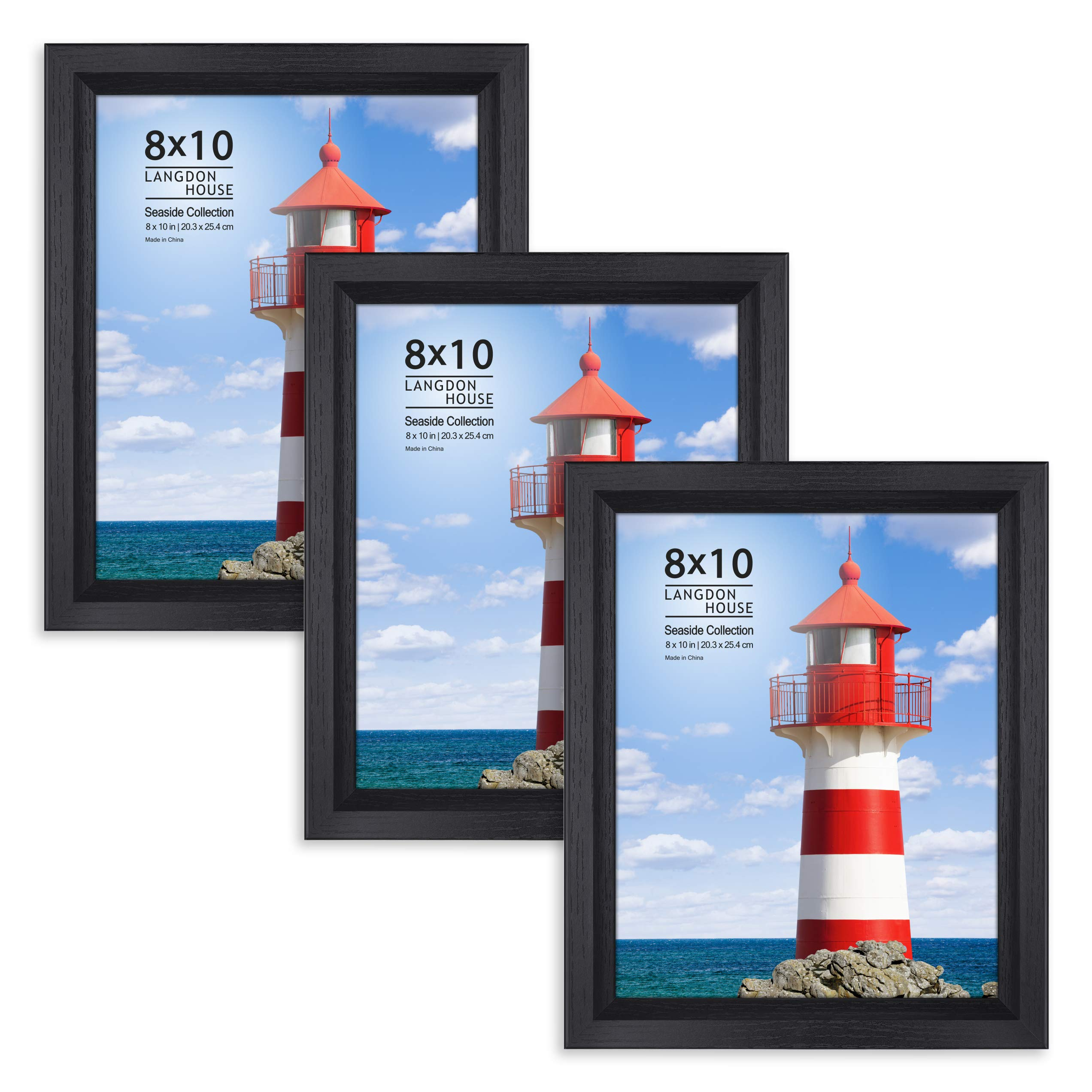 Langdons 8x10 Picture Frame (3 Pack, Black), Sturdy Wood Composite Photo Frame 8 x 10, Wall Mount or Table Top, Set of 3 Seaside Collection by Langdons