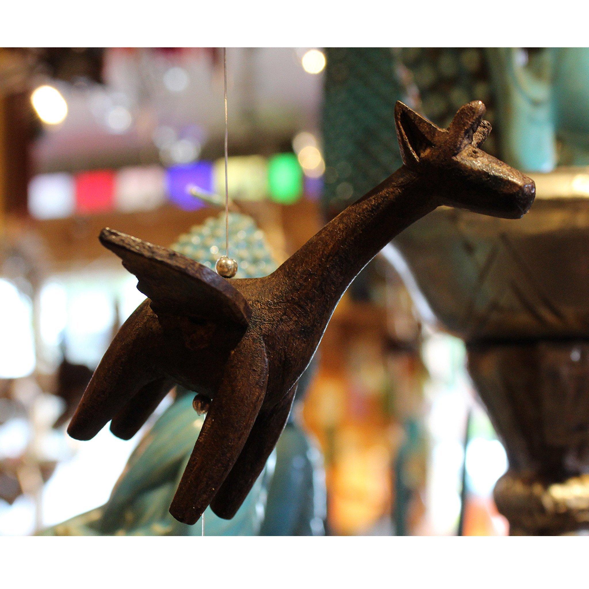 Wooden Animal Hanging Wind Spinners - Giraffe