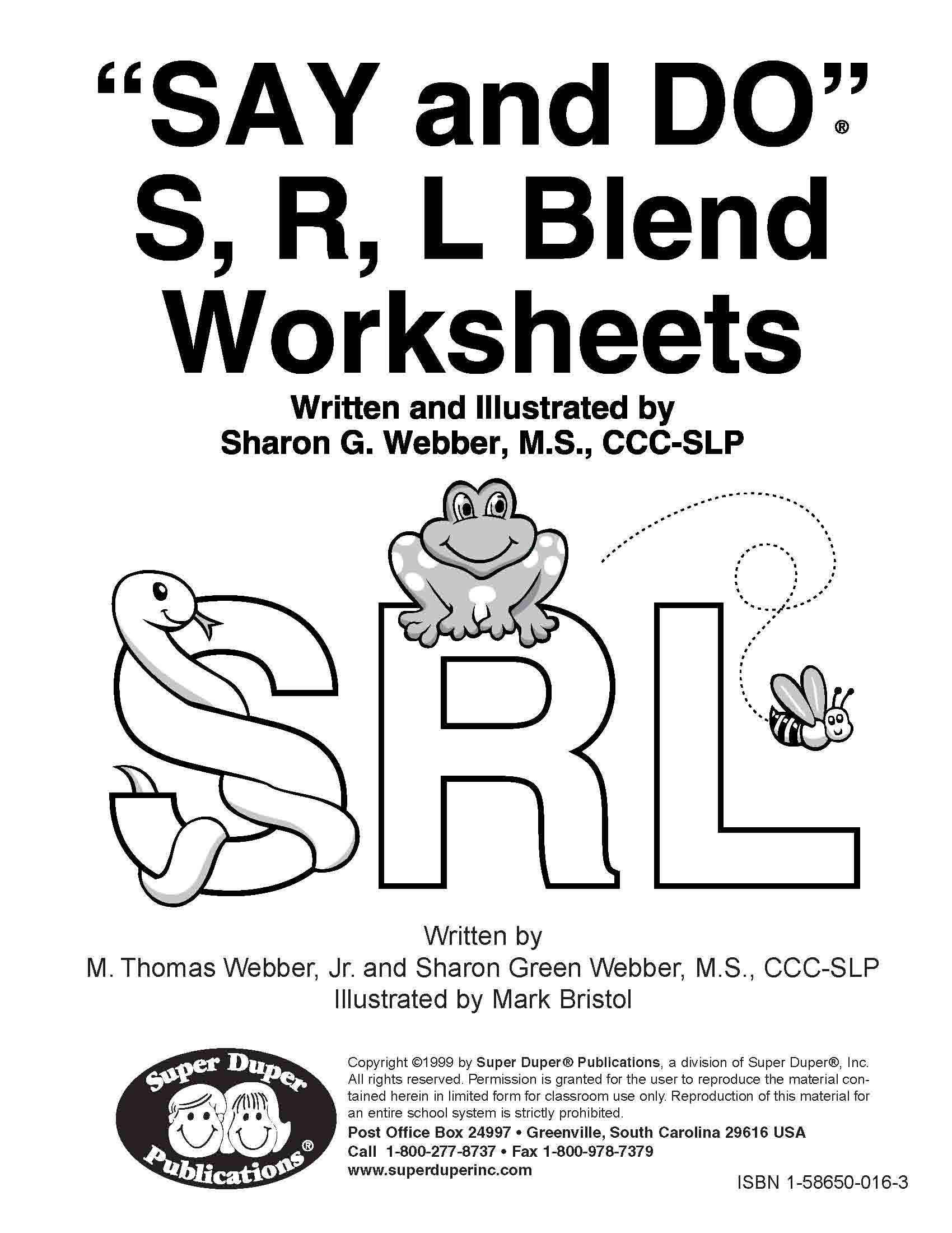 Say And Do S R L Blend Worksheets Amazon 9781586500160 Books