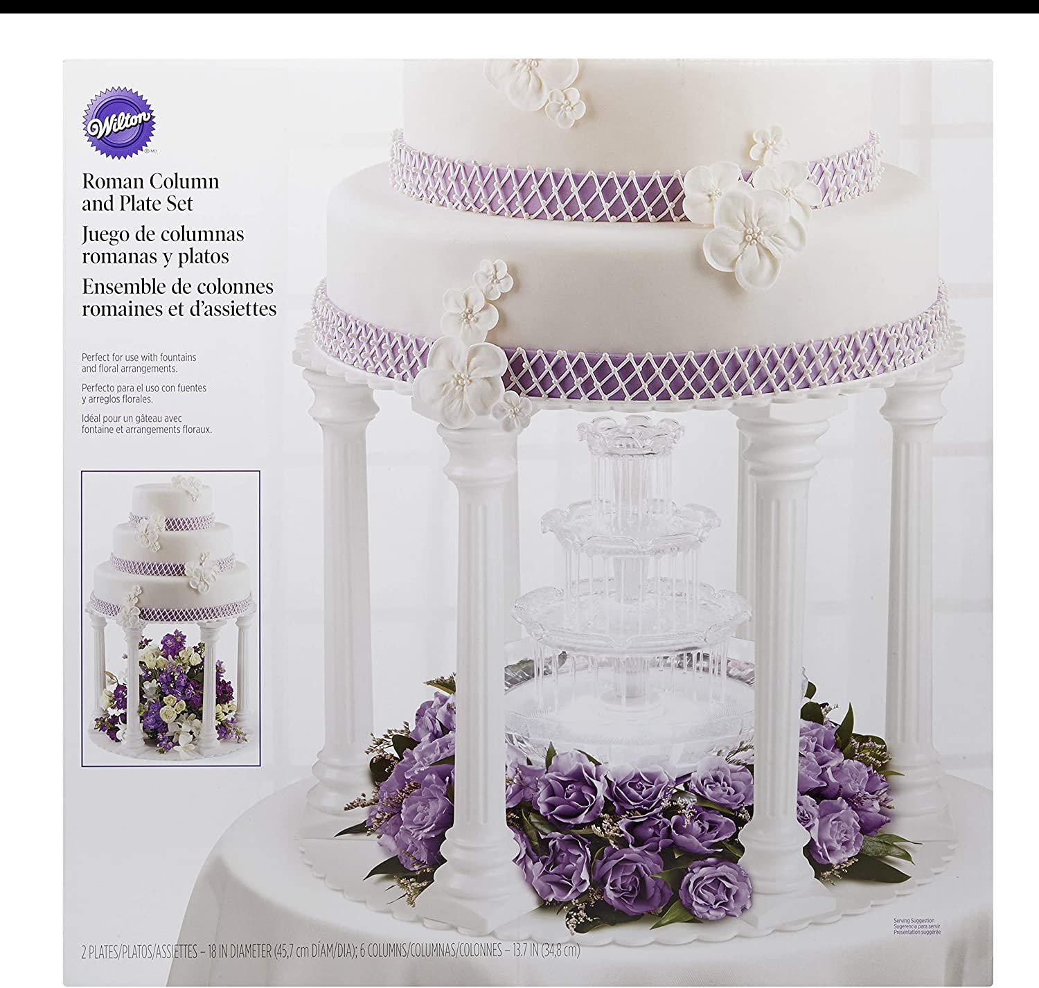 Wilton Roman Column Tiered Wedding Cake Stand, a Beautiful, Elegant Tiered Cake Stand for Weddings and Special Occasions, 8-Piece