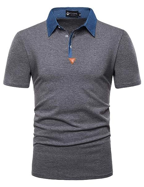 STTLZMC Men/'s Casual Polo Shirts Long Sleeve Slim Fit Fashion T-Shirts
