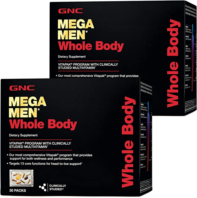 GNC Mega Men Whole Body Vitapak, Twin Pack, 30 Packs per Box, Supports Wellness and Performance   Amazon