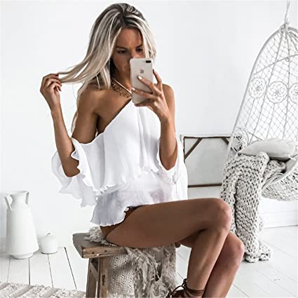 Chiffon Blouse White Shirt Women Halter Off Shoulder Blouse Ruffle Cold Shoulder Ladies at Amazon Womens Clothing store: