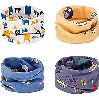 CNNIK Bufanda de los niños, 4 Piezas Bufanda de algodón de Invierno Calentador de Cuello Pañuelos para bebés, niñas y…