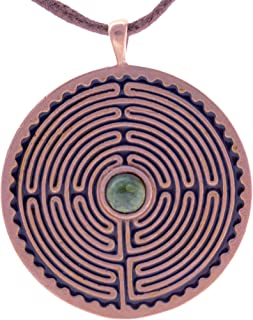 product image for Labyrinth Peace Bronze Pendant Necklace w/ 6mm Swiss Green Opal Stone on Adjustable Natural Fiber Cord