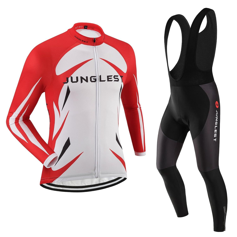 Cycling Jersey Set Wen長袖( S ~ 5 X L、オプション:よだれかけ、3dパッド) n140 B01BUHHBHG  種類: セット(ブラック前掛け) XXXL(2.8cm 3D pad)(186-192cm/90-94kg)
