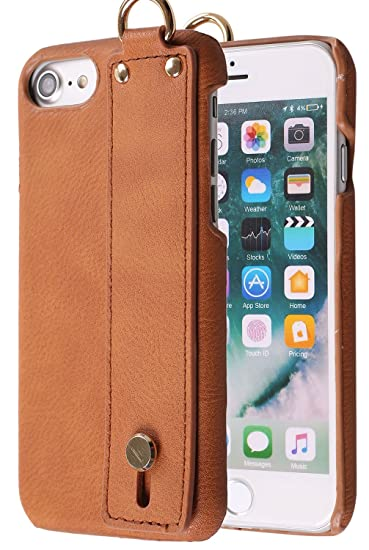 100% authentic d7efe 4513f iPhone 8 Case with Handle on Back , Monca Leather Handle [Kickstand] Bumper  Case Cover for Apple iPhone 6s / iPhone 7 / iPhone 8 (Brown)