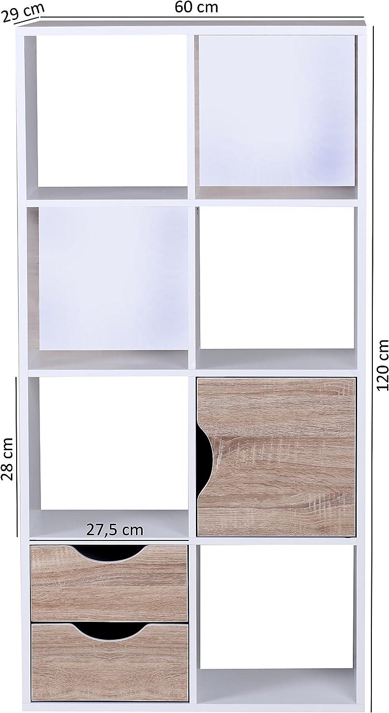429 estanter/ía con cajones y Puerta Blanco//marr/ón Wohnling WL1
