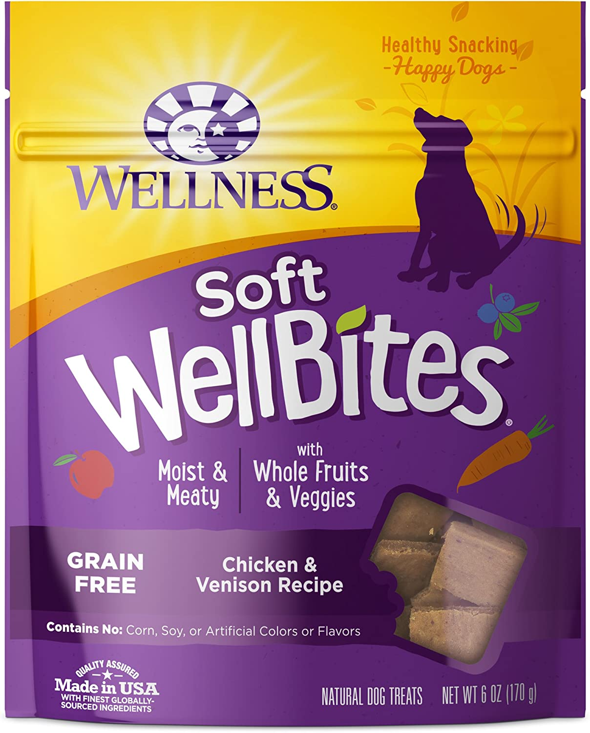 Wellness Soft Wellbites Natural Grain Free Dog Treats, Chicken & Venison, 6-Ounce Bag