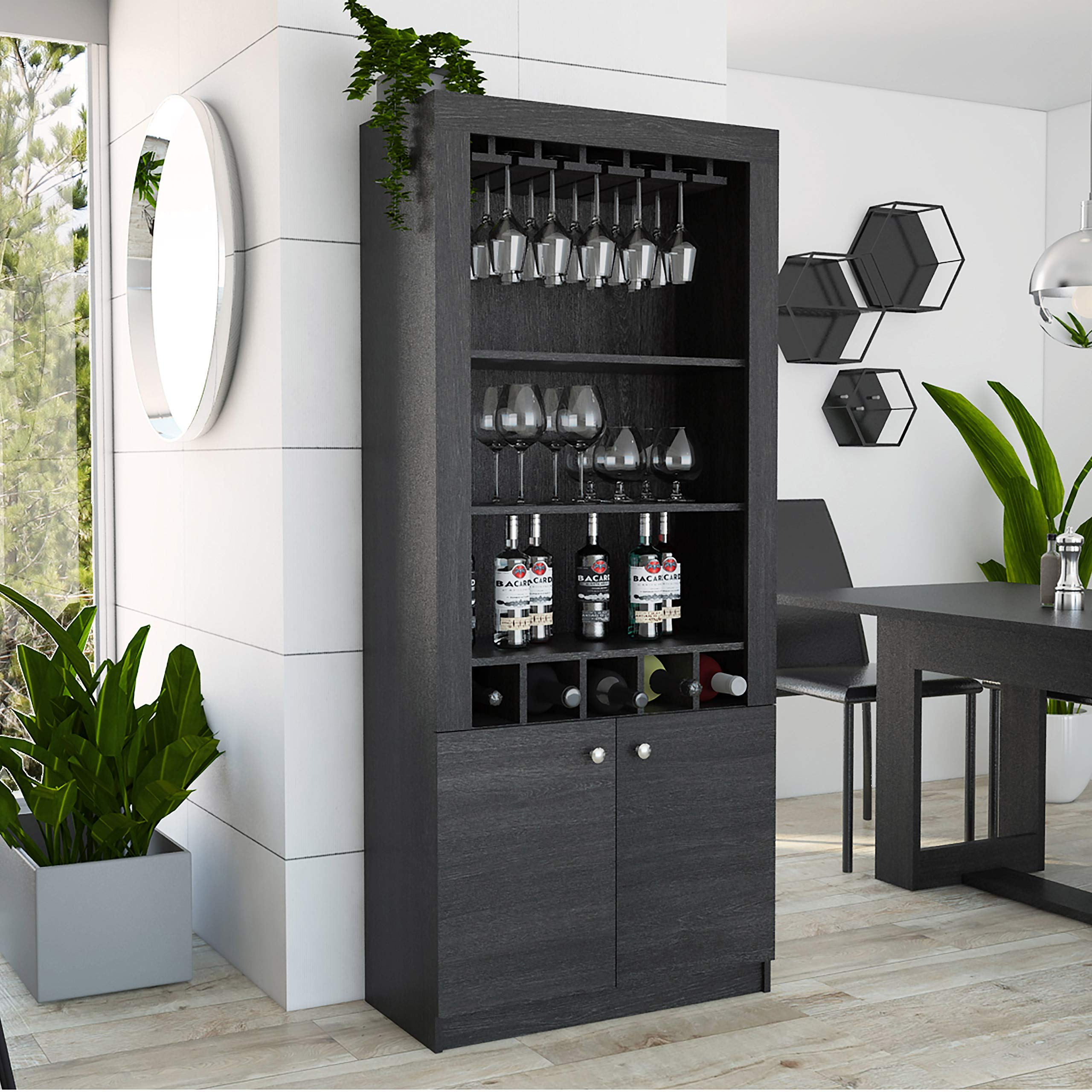 TUHOME Montenegro Collection Bar Cabinet/Home Bar Comes with a 5 Bottle Wine Rack, Storage Cabinets, 3 Shelves and a 15 Wine Glass Rack with a Modern Dark Weathered Oak Finish by TUHOME