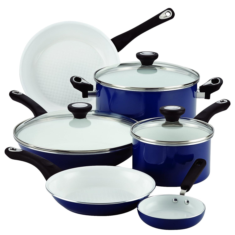Farberware PURECOOK Ceramic Nonstick Cookware 12-Piece Cookware Set, Blue