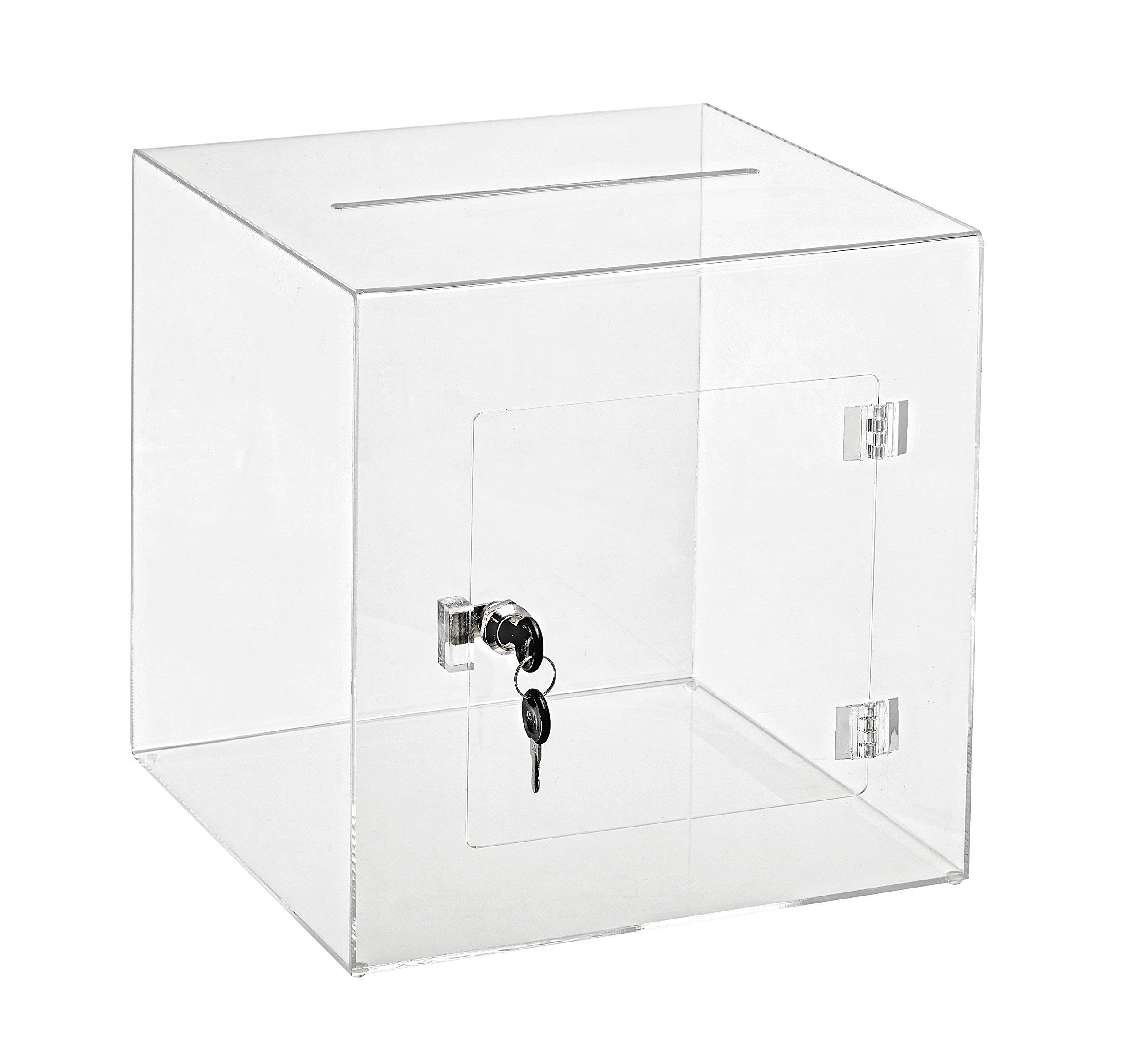 AdirOffice 12'' x 12'' Acrylic Ballot Box Donation Box with Easy Open Rear Door - Durable Acrylic Box with Lock - Ideal for Voting, Charity & Suggestion Collection - Clear by AdirOffice