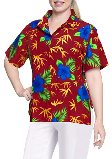 LA LEELA Blusas Camisa Hawaiana botón Abajo Mujeres con Cuello Corto Campamento Mangas Rojas: Amazon.es: Ropa y accesorios