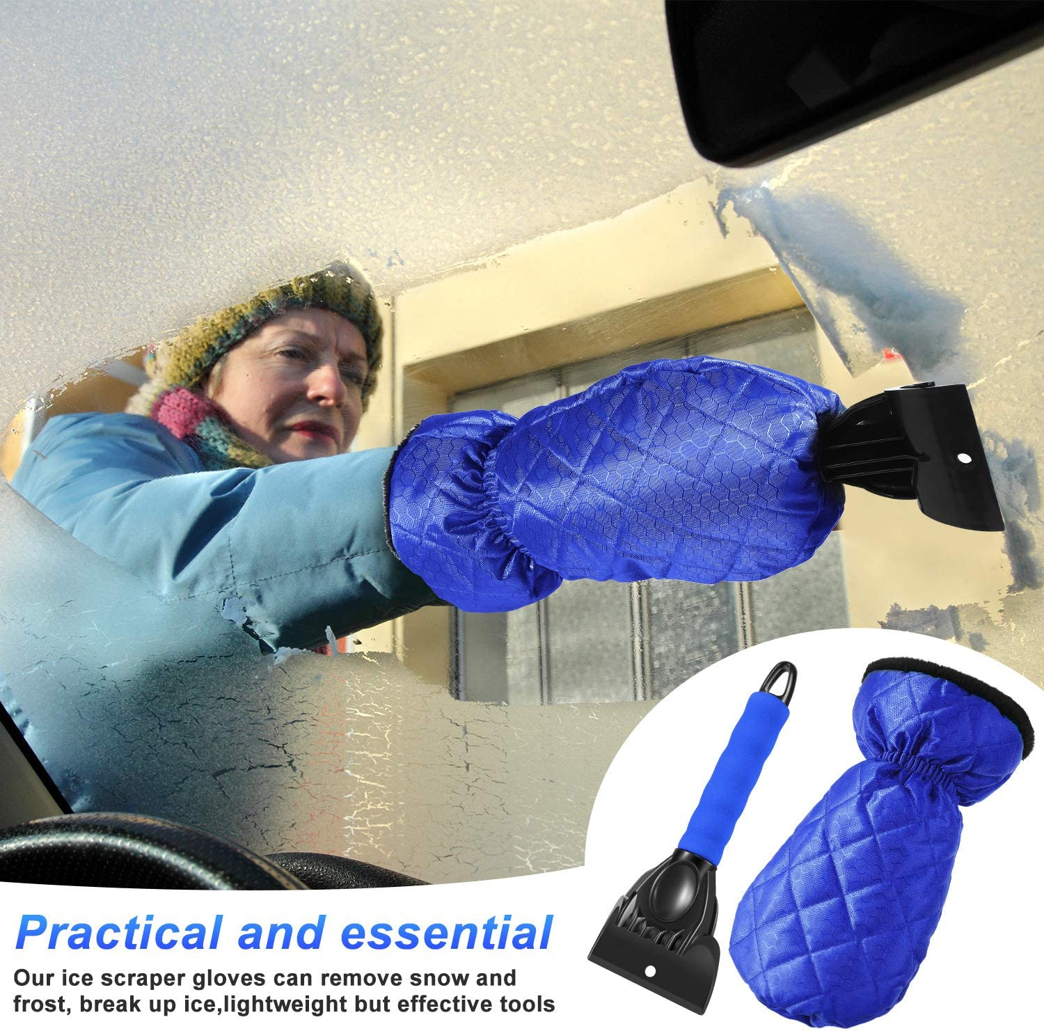 Total 3 Pieces Snow Brush Snow Ice Remover Tools for Car Windshield Snow Frienda Ice Scraper Gloves Windshield Snow Scraper Mitts with Thick Fleece Lined