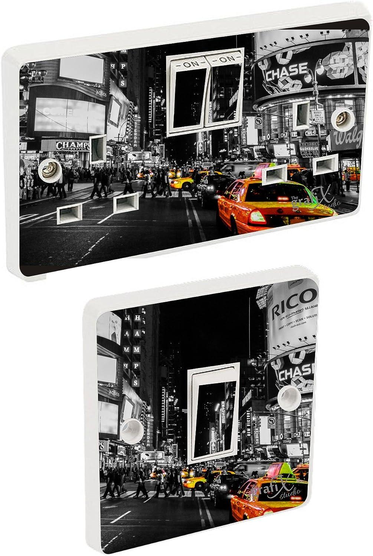 Motivo: Rose the grafix studio Adesivo vinilico per Interruttore e Doppia Presa di Corrente Cover vinilica Colore: Taxi a New York