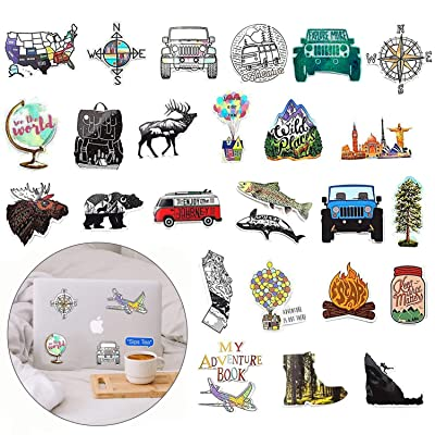 66 Pieces Vinyl Sticker Adventure Stickers Waterproof Stickers Outdoors Hiking Camping Travel Stickers : Baby