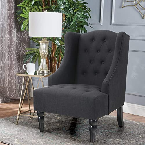 ALPHA HOME Accent Living Room Chair Wingback Armchair High Back Swoop Button-Tufted Club Reading Chair Mid-Century Retro Modern Home Theater Seating Linen Fabric Upholstery