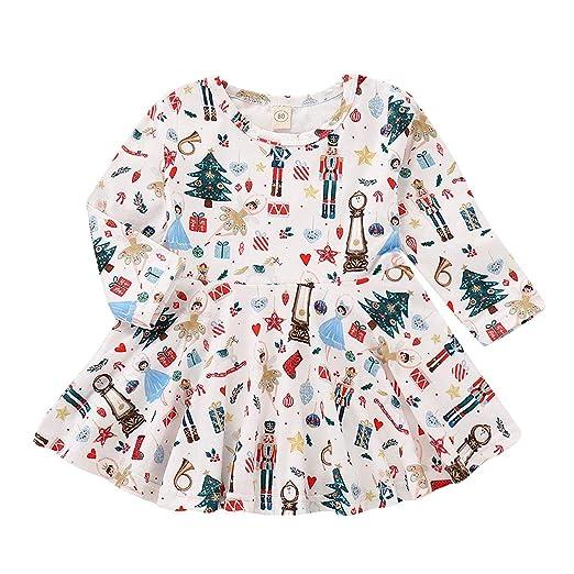 cce48b13b08e Toddler Baby Girl Xmas Dress Cartoon Print Funny Pattern Long Sleeve Skirt  Party Christmas Princess Clothes