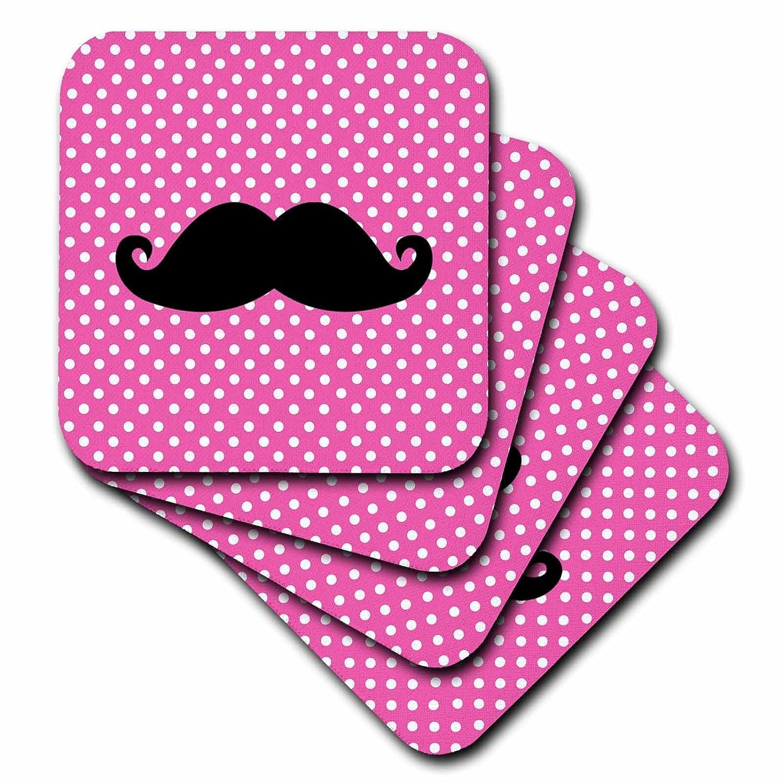 Set of 4 3dRose cst/_110762/_3 Funny Black Mustache on Pink Polka Dots-Ceramic Tile Coasters