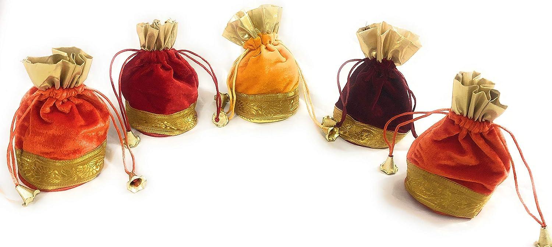 housewarming//Velvet Favor bags//Height:6 inches Set of 5 Small drawstring velvet Potli bags//Return Gift for Pooja