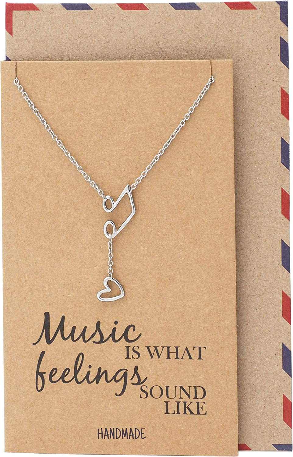 Quan Jewelry Music Note Treble Clef Necklace, Musical Jewelry Gifts for Women with Greeting Card