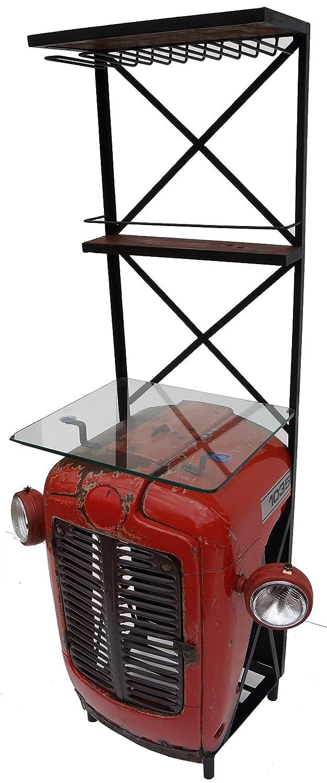 Regal mit Glasplatte , Hausbar aus Traktor-Motorhaube / kleine Regale, Weinregale