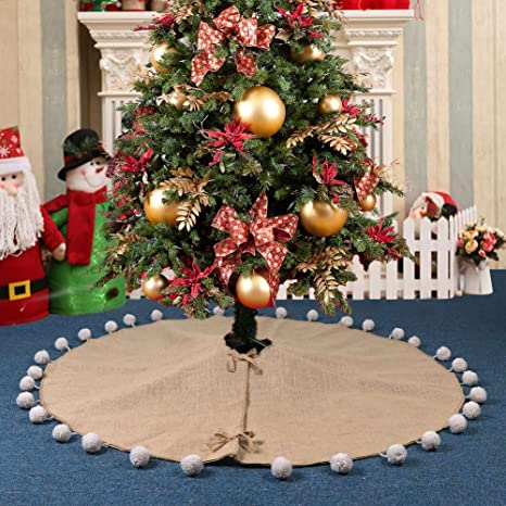 Natural Christmas Tree Decorations.Aytai Natural Jute Christmas Tree Skirt 48 Inches Burlap Xmas Tree Skirts For Rustic Christmas Decorations Unique Pompom Style