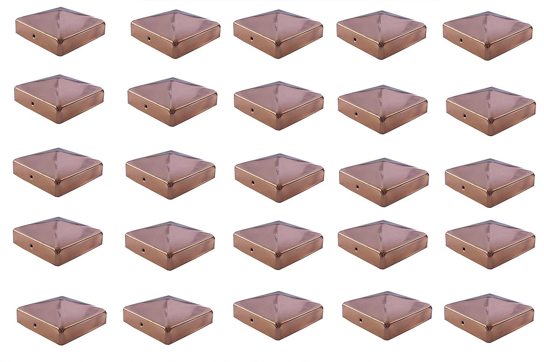 25x Pfostenkappe Kupfer 71 mm Pyramide Abdeckkappe f/ür Pfosten 7 x 7 cm