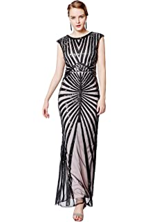 Metme Womens 1920s Prom Fringed Sequin Long Flapper Roaring Gatsby Dress for Party